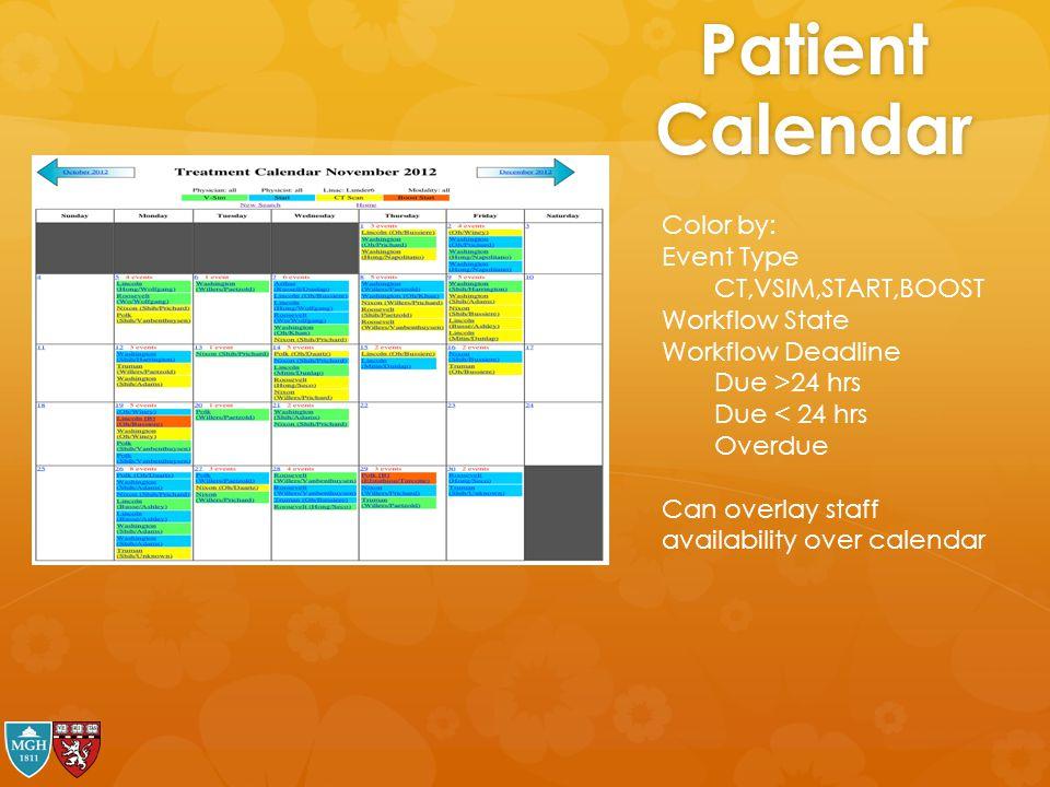 Patient Calendar Color by: Event Type CT,VSIM,START,BOOST