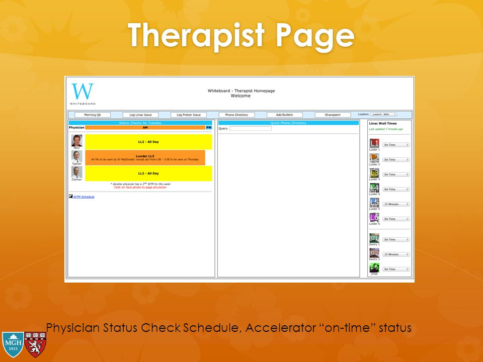 Therapist Page Physician Status Check Schedule, Accelerator on-time status