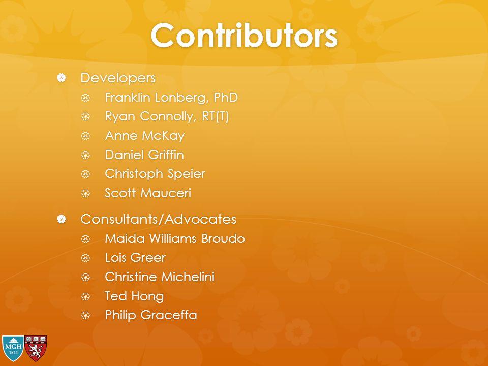 Contributors Developers Consultants/Advocates Franklin Lonberg, PhD