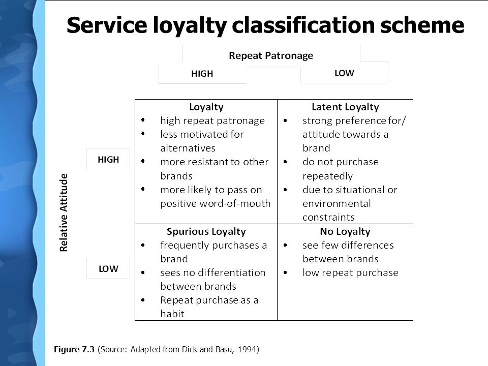 Service loyalty classification scheme