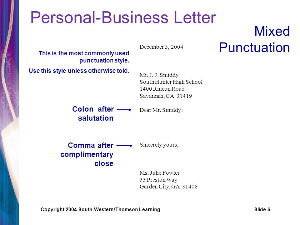 6 Personal Business Letter  Salutation Punctuation