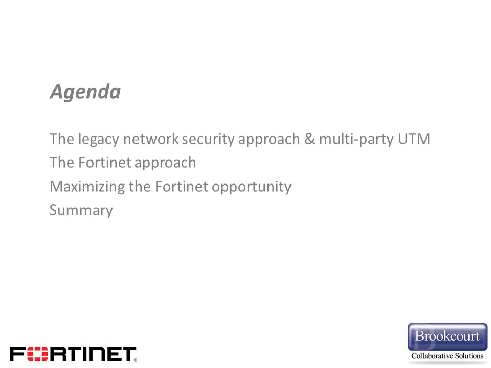 Agenda The legacy network security approach & multi-party UTM