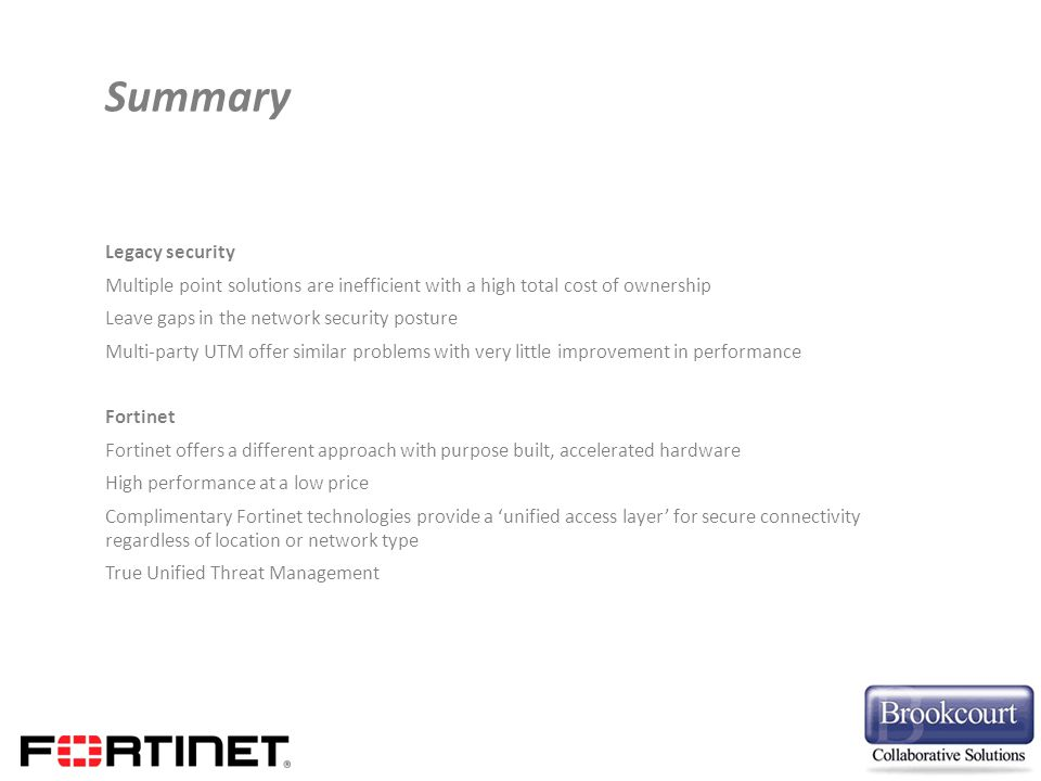 Summary Legacy security