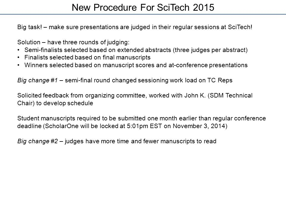 New Procedure For SciTech 2015