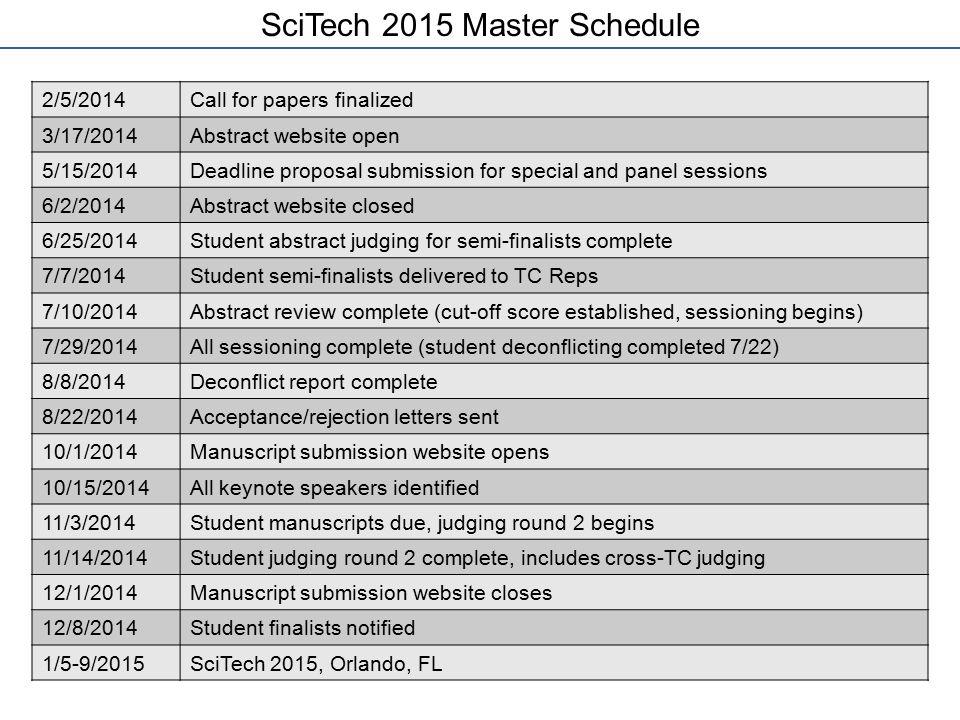 SciTech 2015 Master Schedule