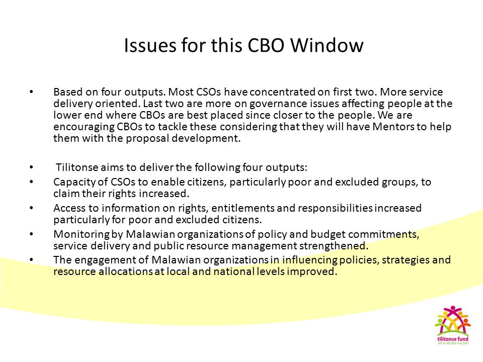 Issues for this CBO Window