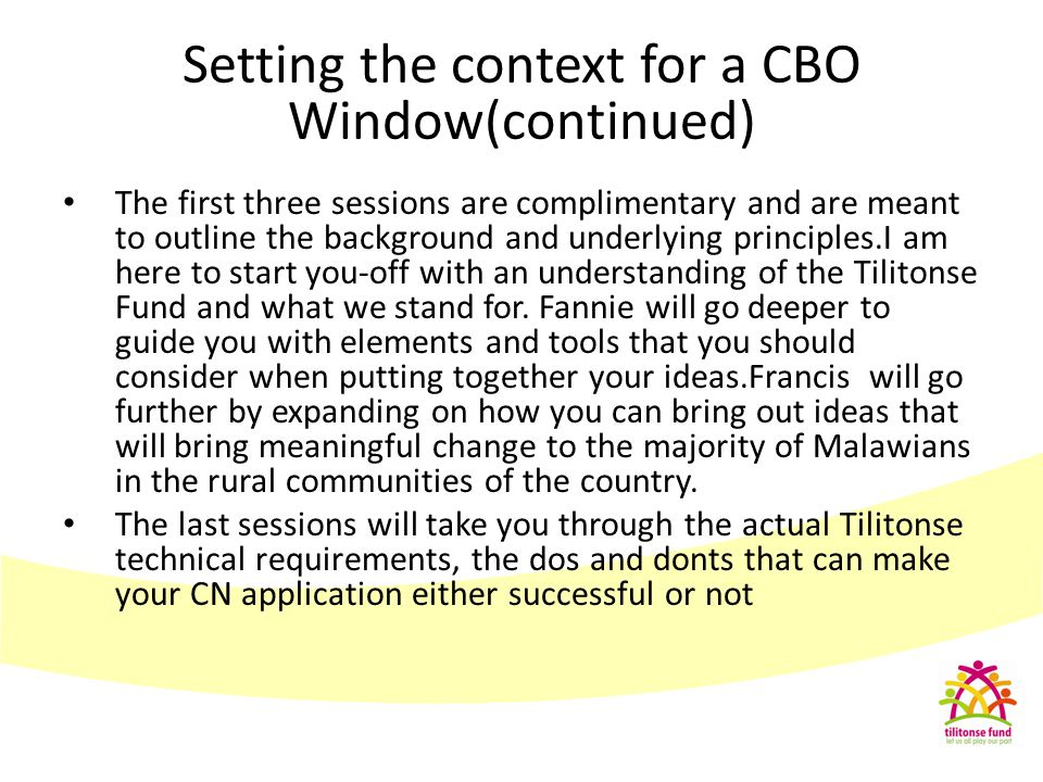 Setting the context for a CBO Window(continued)
