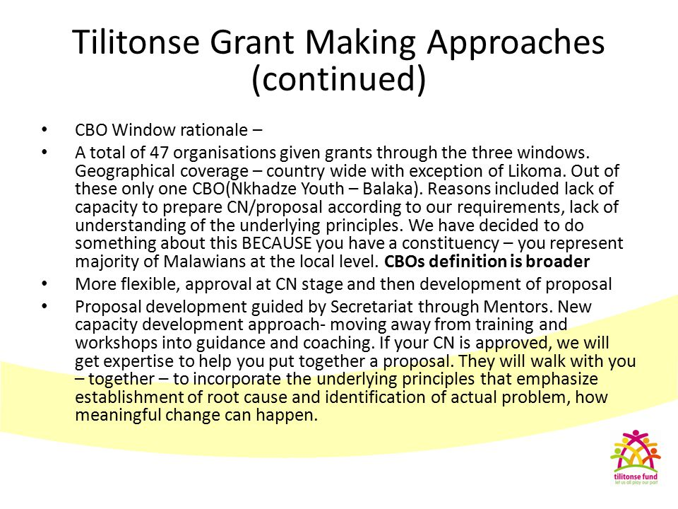 Tilitonse Grant Making Approaches (continued)