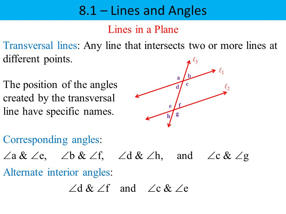 8.1 – Lines and Angles Lines in a Plane