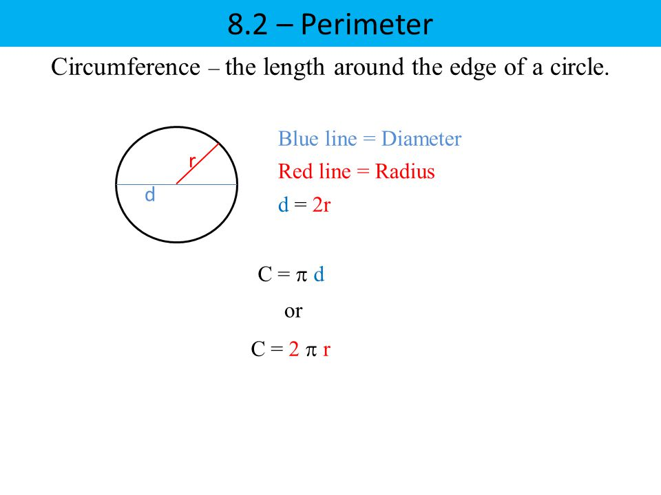 Circumference – the length around the edge of a circle.