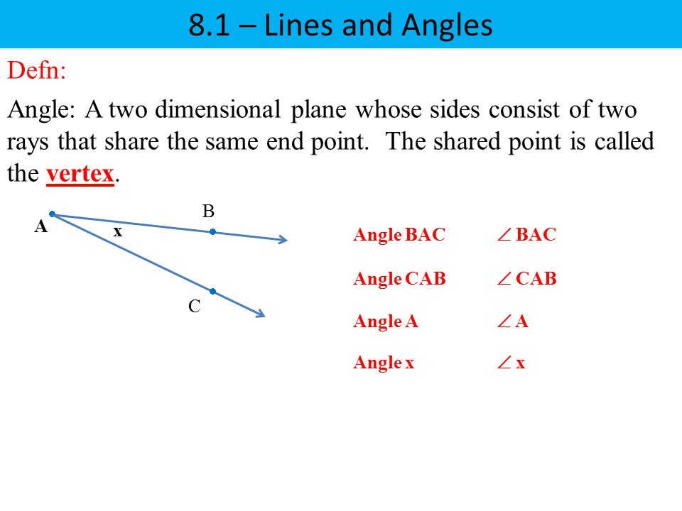 8.1 – Lines and Angles Defn: