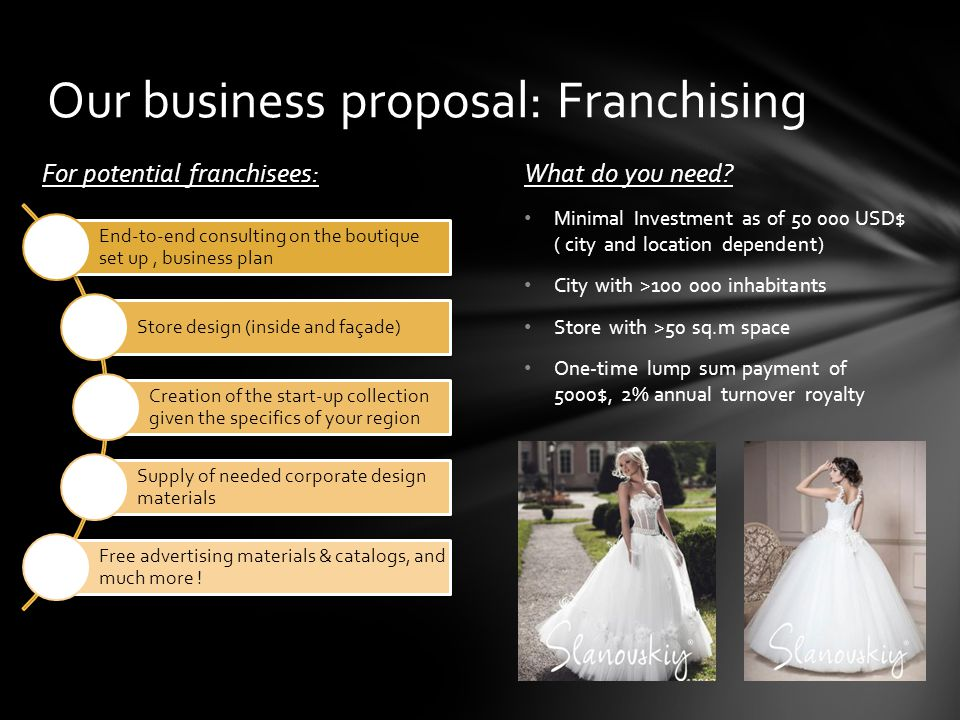 Our business proposal: Franchising