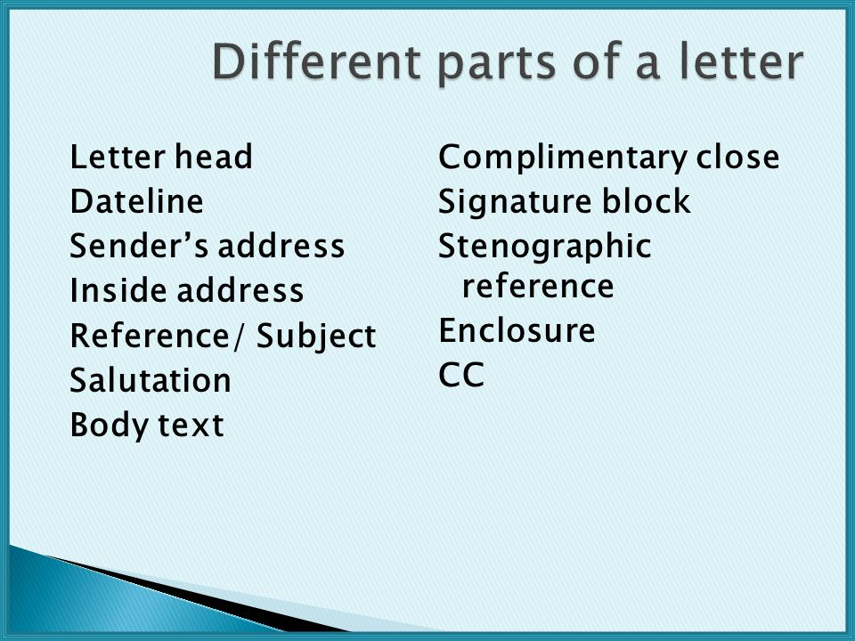 Different parts of a letter