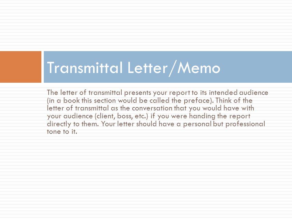 Transmittal Letter/Memo