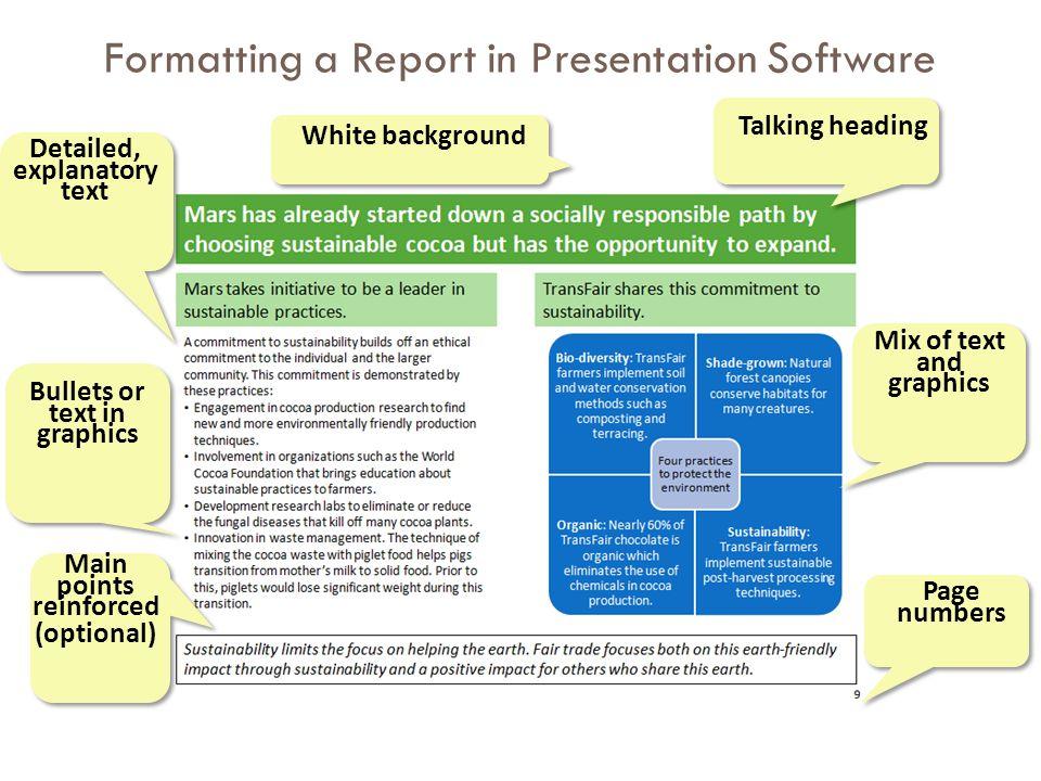 Formatting a Report in Presentation Software