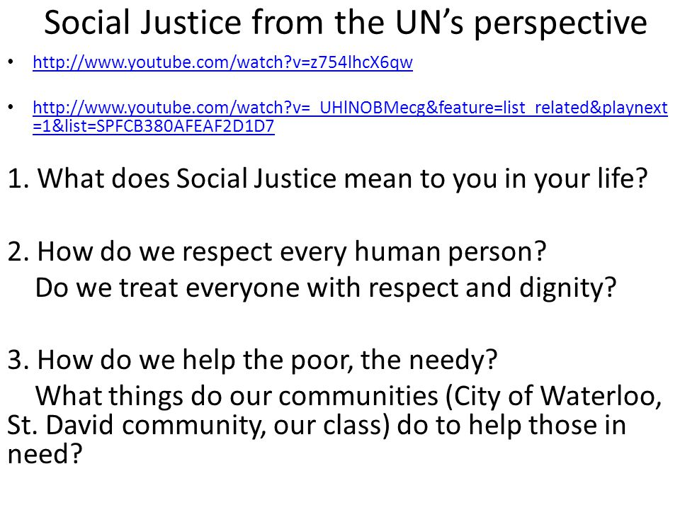 Social Justice from the UN's perspective