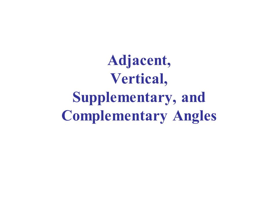 Adjacent, Vertical, Supplementary, and Complementary Angles