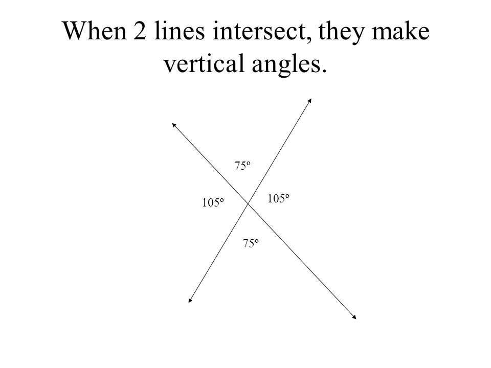 When 2 lines intersect, they make vertical angles.