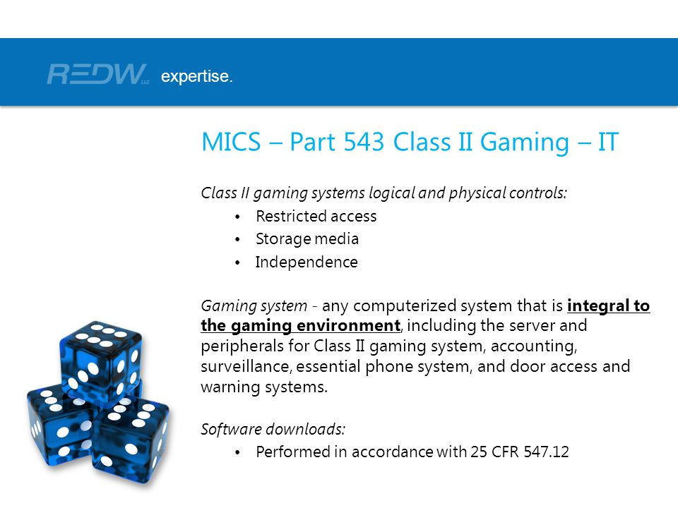 MICS – Part 543 Class II Gaming – IT
