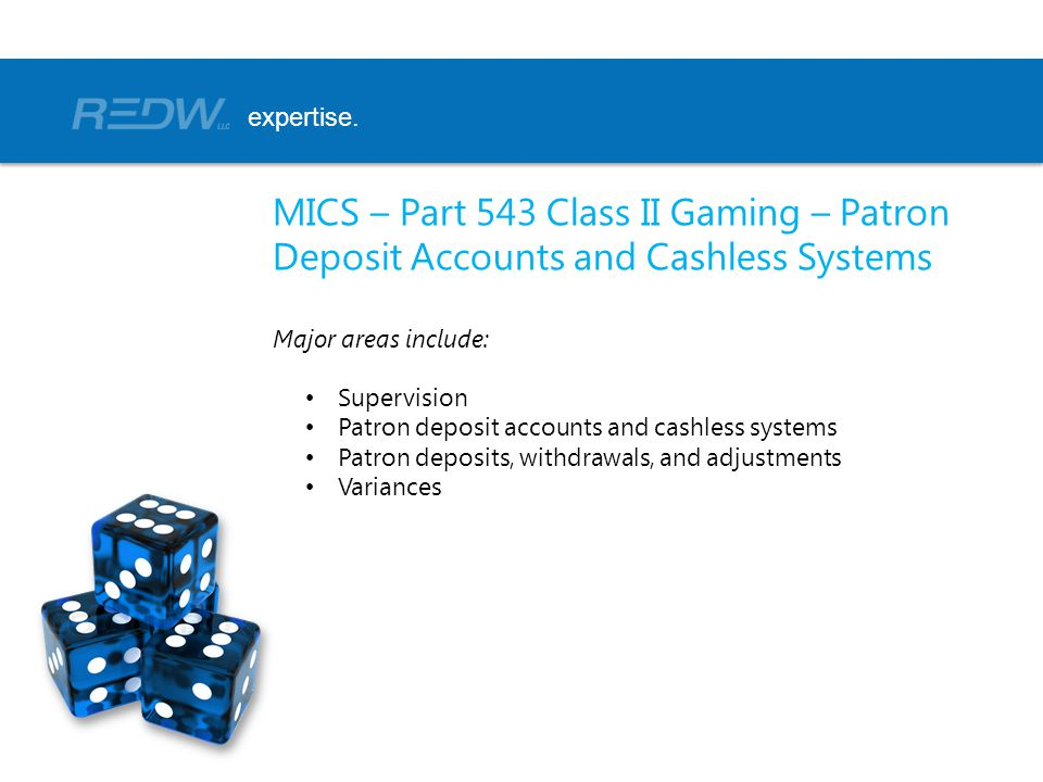 expertise. MICS – Part 543 Class II Gaming – Patron Deposit Accounts and Cashless Systems. Major areas include: