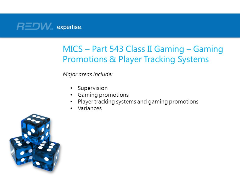 expertise. MICS – Part 543 Class II Gaming – Gaming Promotions & Player Tracking Systems. Major areas include: