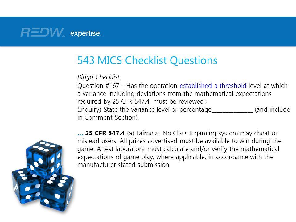543 MICS Checklist Questions