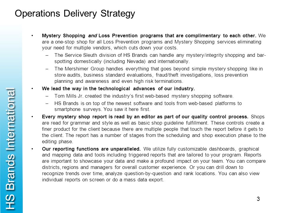 Operations Delivery Strategy