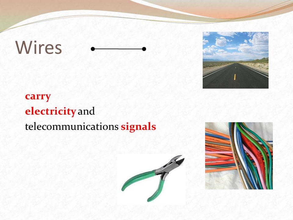 Wires carry electricity and telecommunications signals