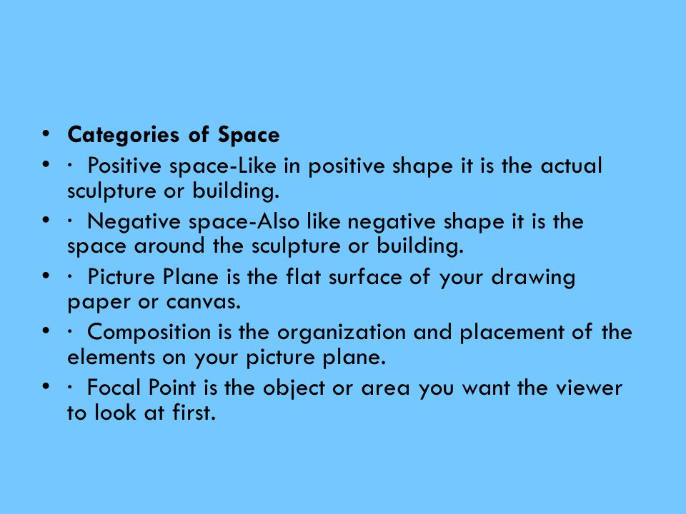 Categories of Space · Positive space-Like in positive shape it is the actual sculpture or building.