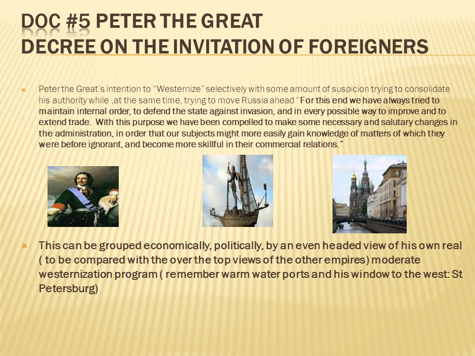 Doc #5 Peter the Great Decree on the Invitation of foreigners