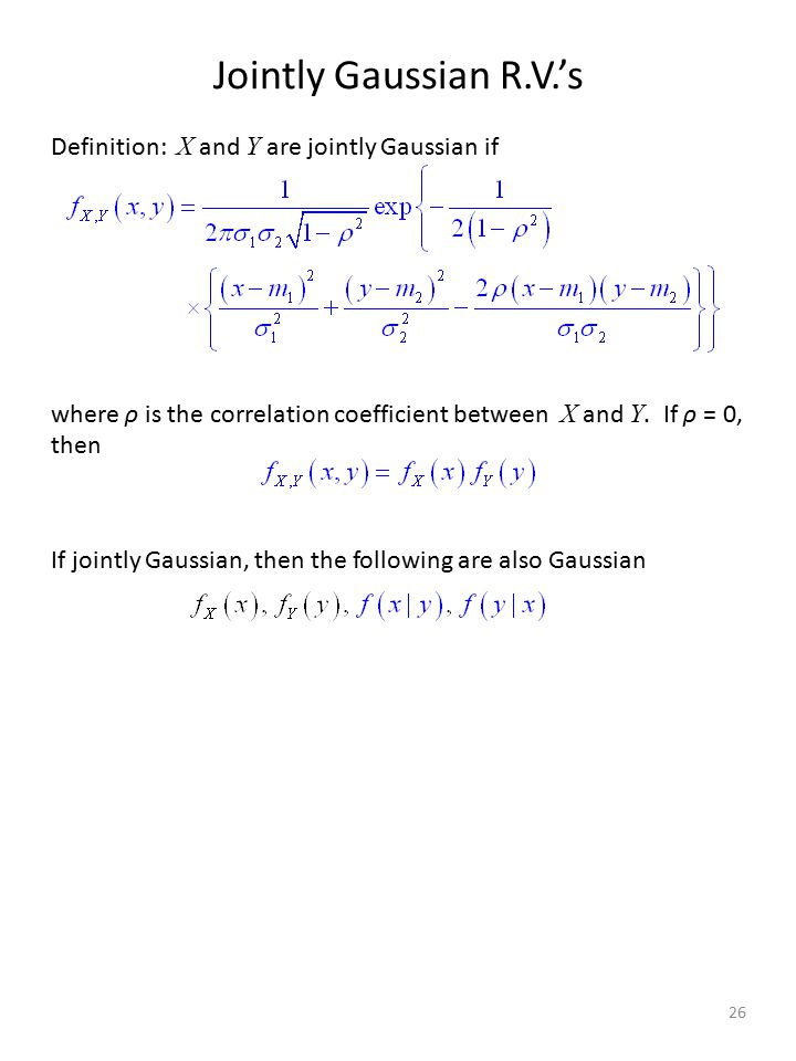 Jointly Gaussian R.V.'s