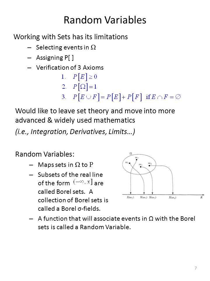 Random Variables Working with Sets has its limitations