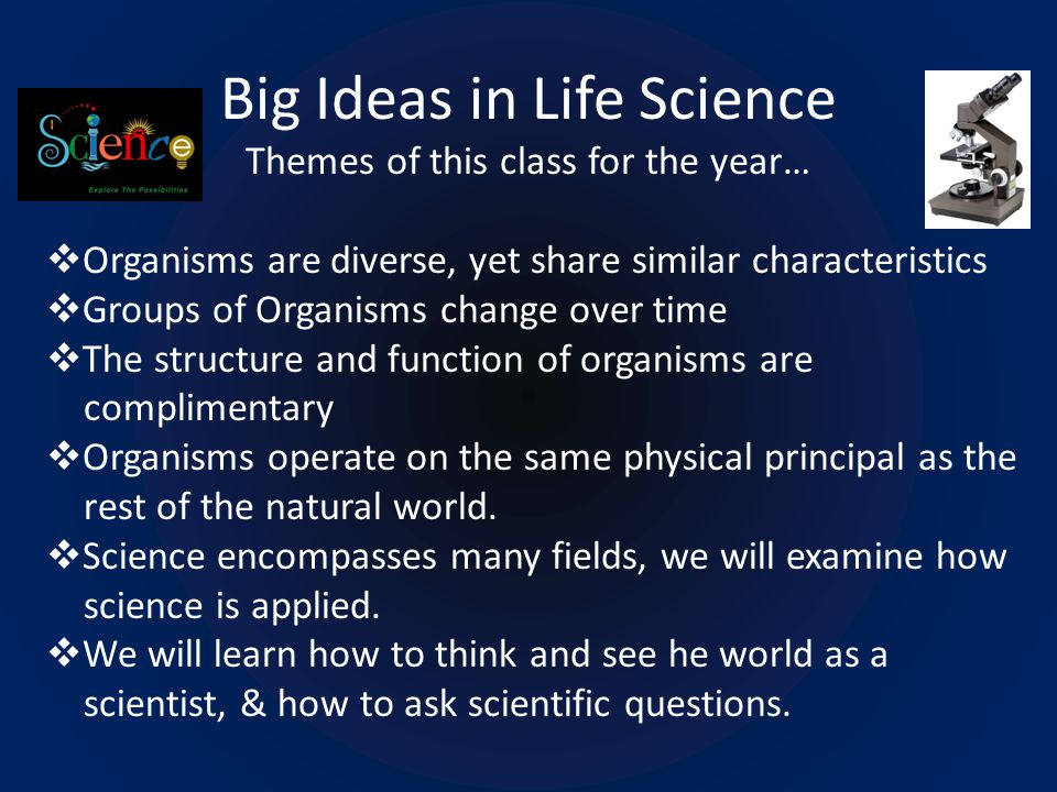 Big Ideas in Life Science Themes of this class for the year…