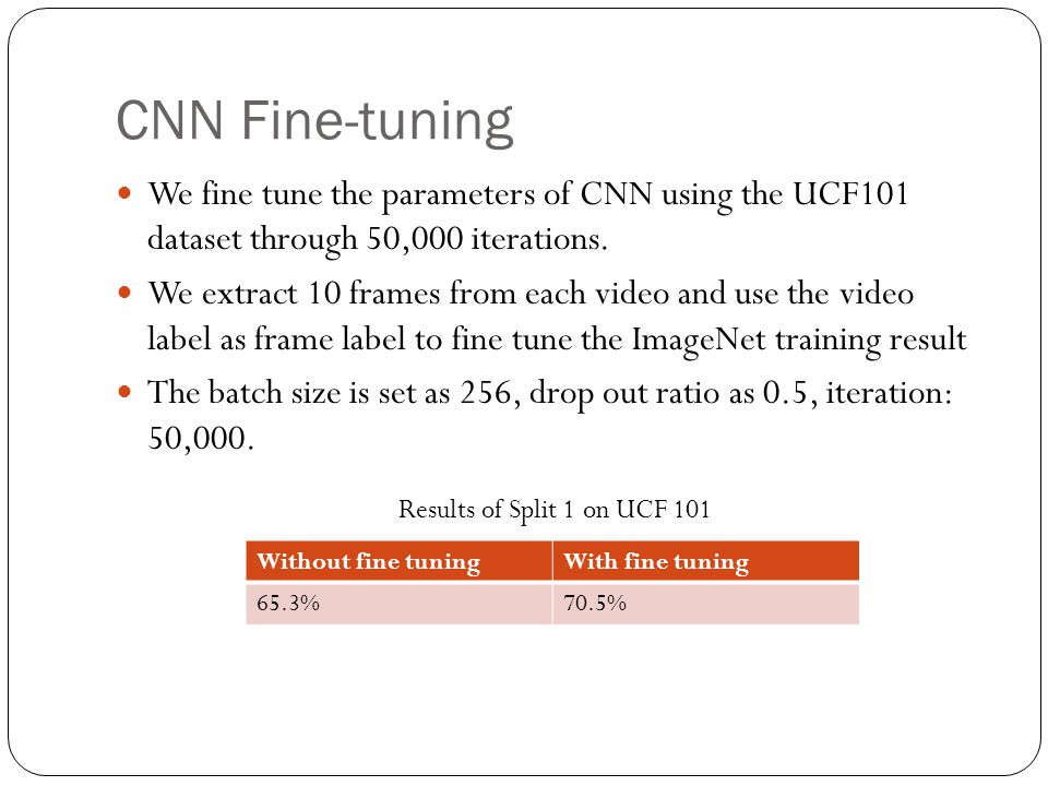 CNN Fine-tuning We fine tune the parameters of CNN using the UCF101 dataset through 50,000 iterations.