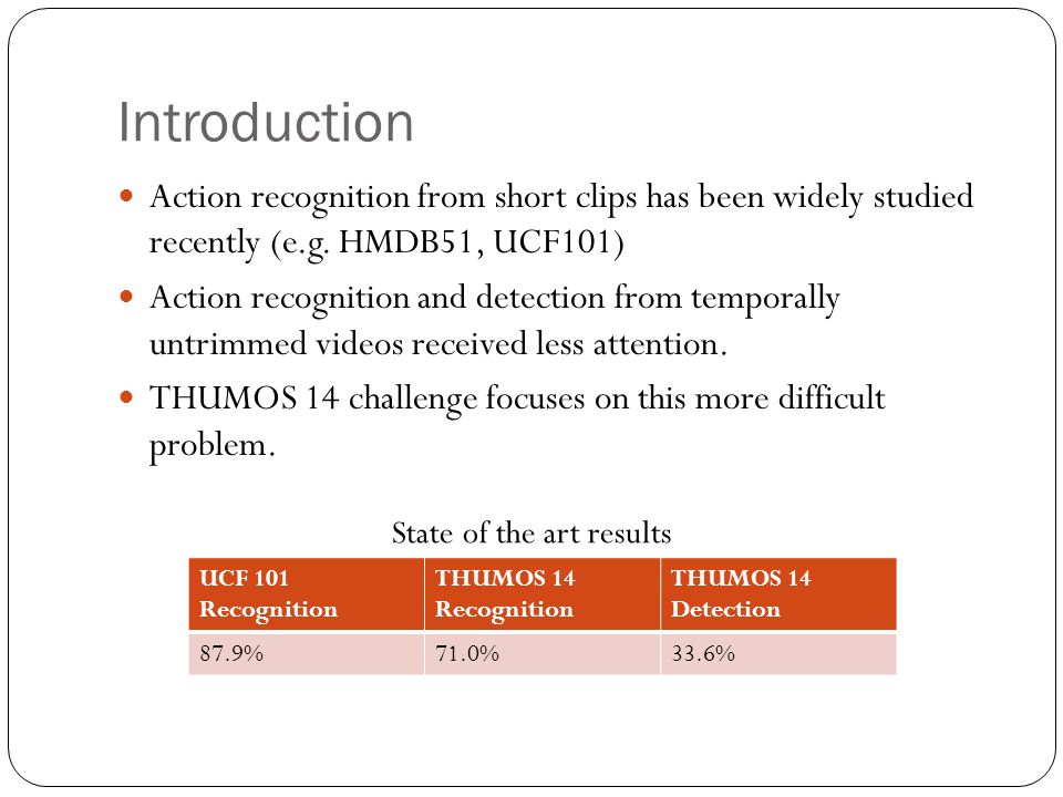 Introduction Action recognition from short clips has been widely studied recently (e.g. HMDB51, UCF101)