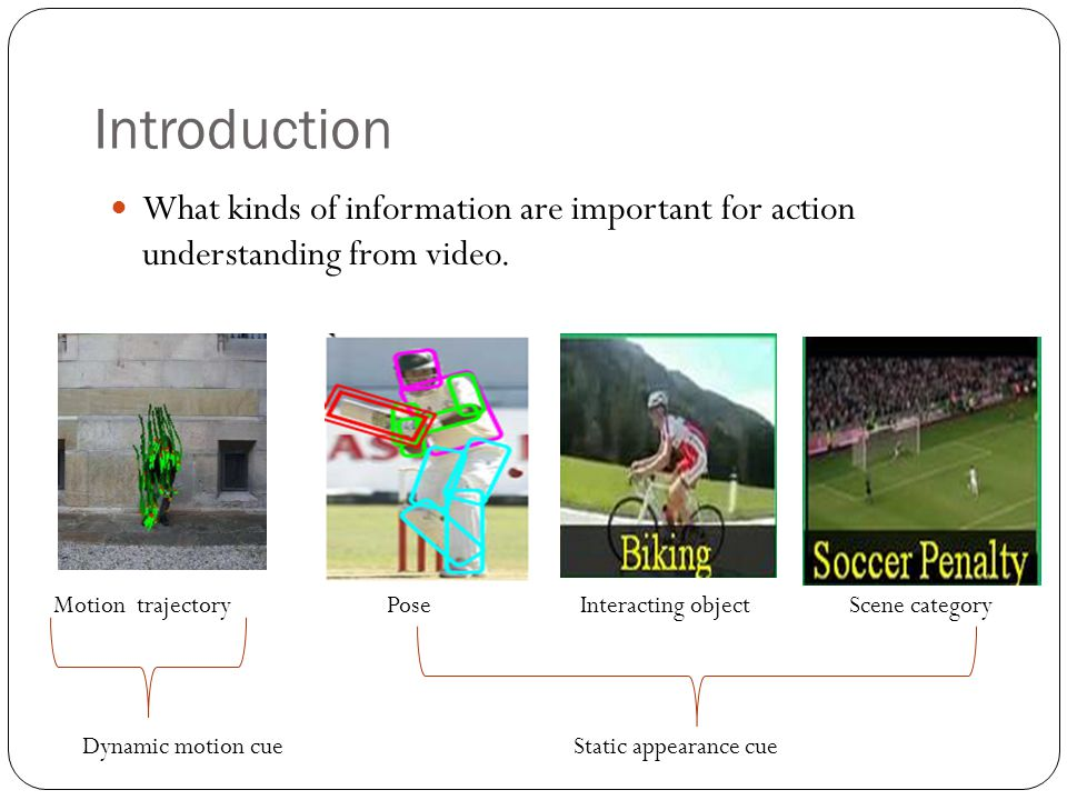 Introduction What kinds of information are important for action understanding from video.
