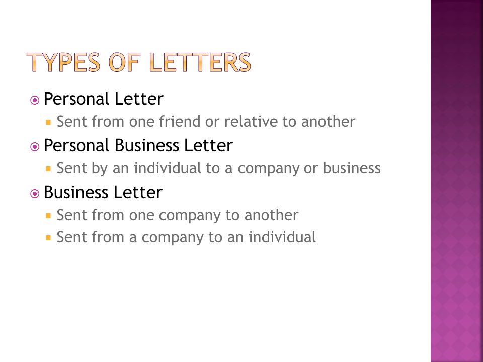 Types of Letters Personal Letter Personal Business Letter