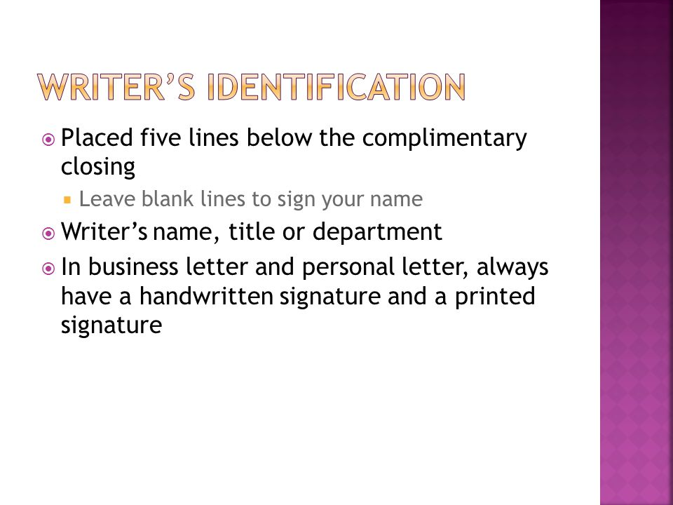 Writer's identification