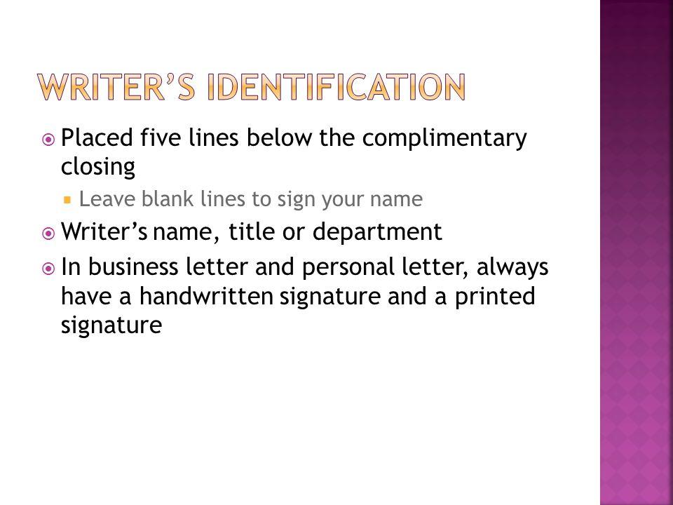 Writer's identification