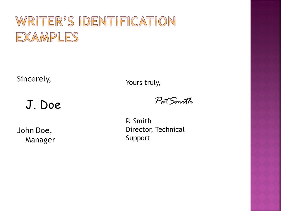 Writer's identification examples
