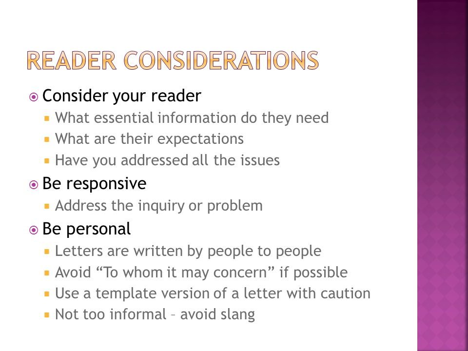 Reader considerations