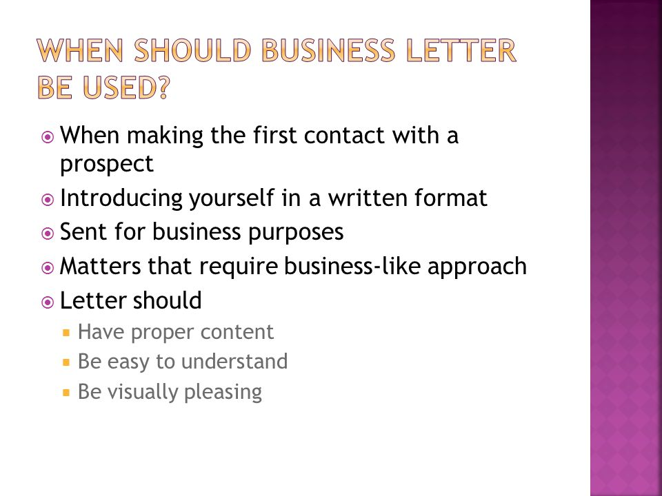 When should business letter be used