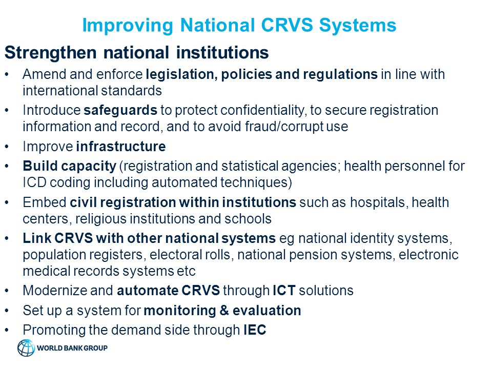 Improving National CRVS Systems