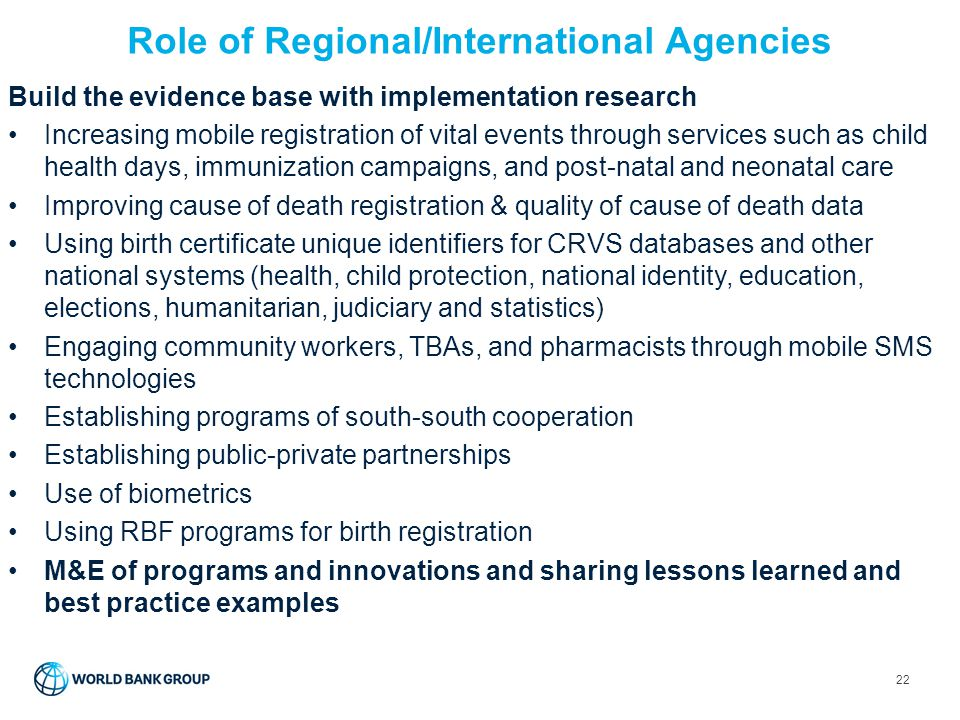 Role of Regional/International Agencies