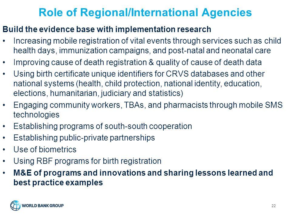 Role of Regional/International Agencies