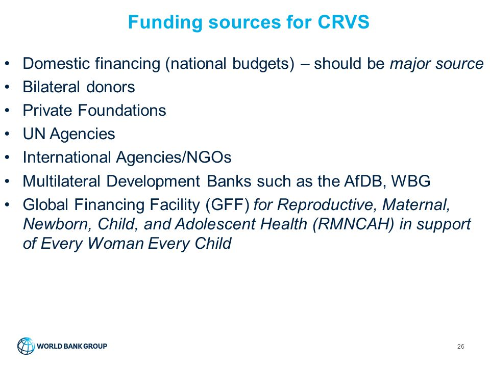 Funding sources for CRVS