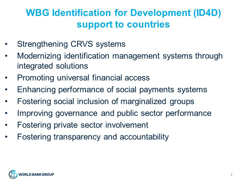 WBG Identification for Development (ID4D) support to countries