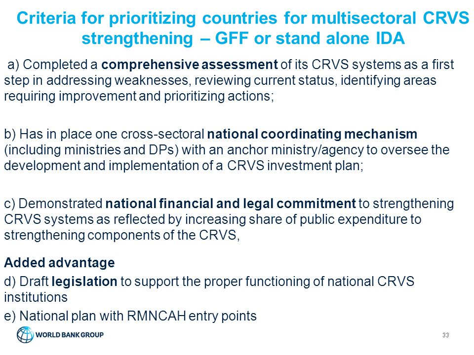 Criteria for prioritizing countries for multisectoral CRVS strengthening – GFF or stand alone IDA