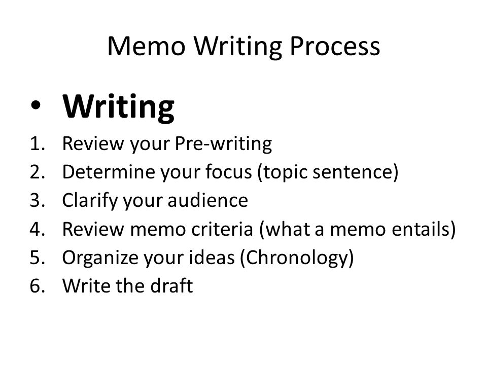 Writing Memo Writing Process Review your Pre-writing