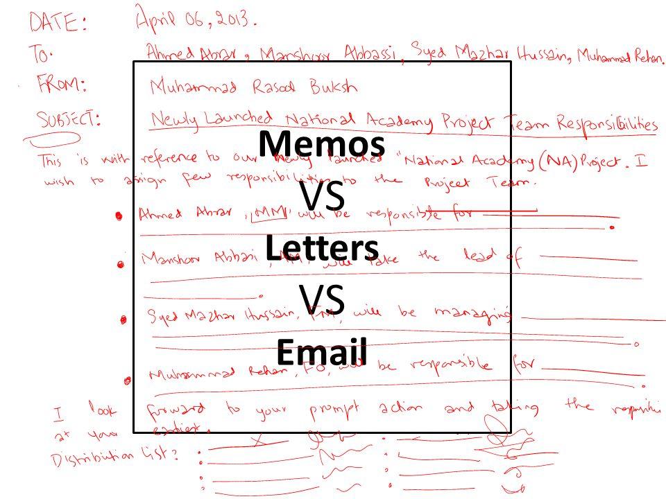 Memos VS Letters VS Email